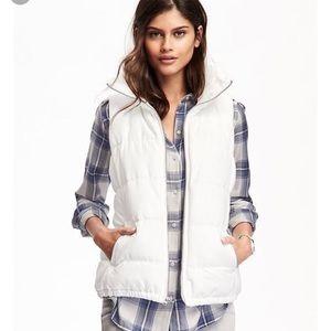 White Puffer Zip-Up Vest